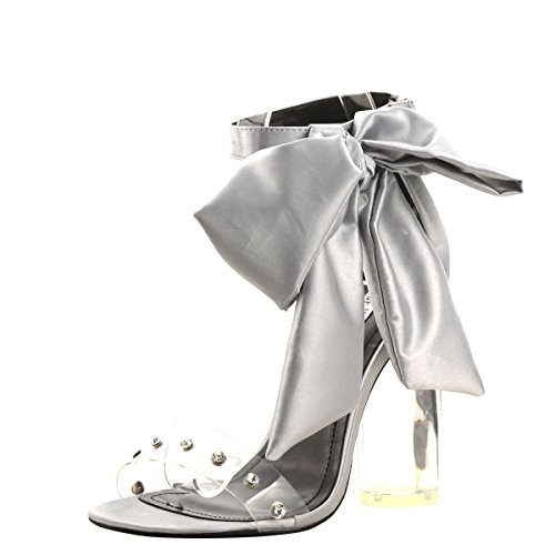 Satin Ankle Bow (CAPE ROBBIN Womens Open Toe Bow Lace up Ankle Strap Clear Transparent Lucite Heel Sandals Shoes 8.5 Silver)
