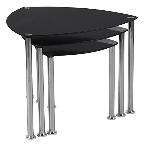 Flash Furniture Pacific Heights Black Glass Nesting Tables with Stainless Steel ()