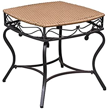 This Item Wicker Resin/Steel Patio Side Table In Honey Finish