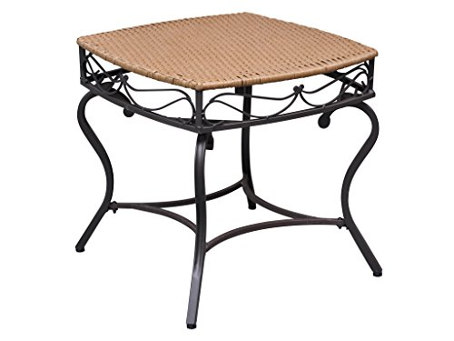 Wicker Resin/Steel Patio Side Table in Honey Finish (Round Wicker Outdoor Setting)