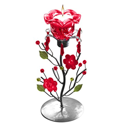 Evelots-Rose-Tea-Candle-Holder-Stand-Centerpiece-Decorative-Gifts-Decor-Red