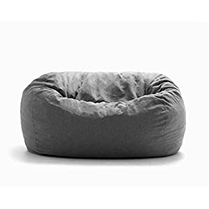 Big Joe Lux XL Fuf Foam Filled Bean Bag Chair, Union, Grey