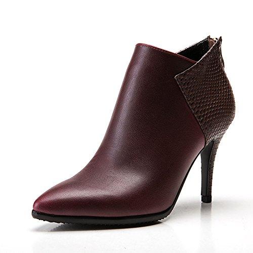 HSXZ® Zapatos de mujer de microfibra sintética PU cuero otoño invierno novedad Moda Botas Botas Stiletto Tacón Punta Botas Botas / Botas de tobillo Wine