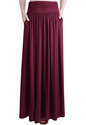 TRENDY UNITED Women's Rayon Spandex High Waist Shirring Maxi Skirt with Pockets (BGD, - Skirt Waist Gathered