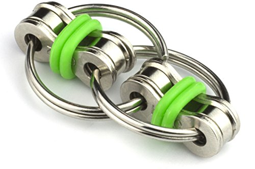 Flippy Chain Fidget Toy by Tom's Fidgets - Perfect for ADHD, Anxiety, and Autism - Bike Chain Fidget Stress Reducer for Adults and Kids - Green (Flipper Rings)