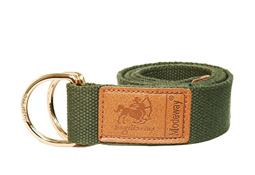 Modeway Womens Mens Star Sign Canvas Web Double D-Ring Leather Gold Buckle Belt (S-M(30
