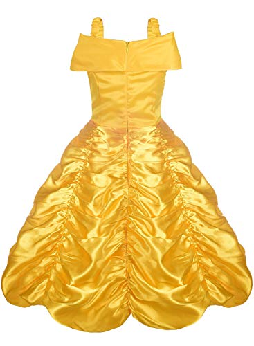 Almce Princess Dress Belle Costume - Layered Off Shoulder Birthday Party Fancy Dress for Little Girls