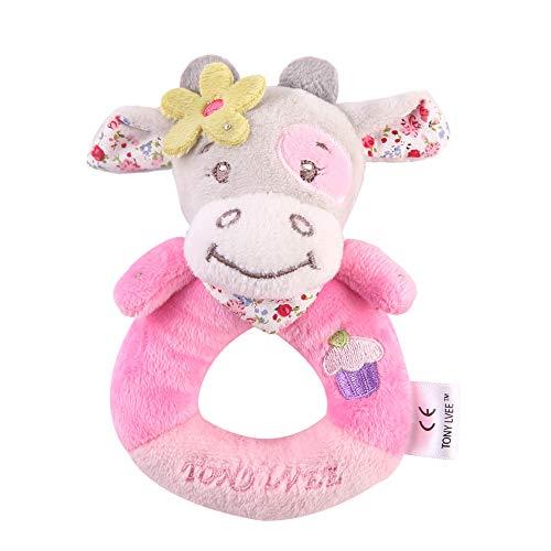 Matoen Infants Kids Animal Soft Plush Baby Hand Bells Educational Doll Hand Rattle Toy 1PCS (1pcs, B)