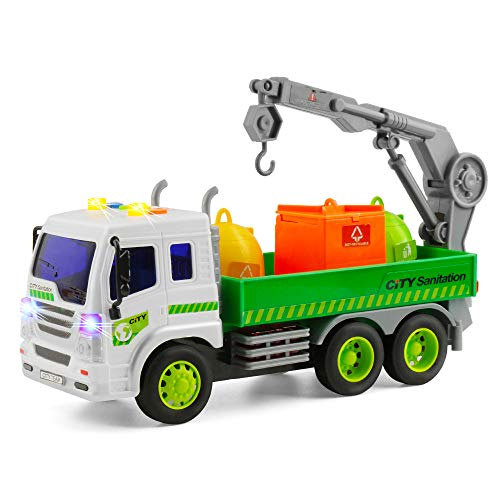 Car And Crane - Gizmovine Truck Toys Friction Powered Vehicles Garbage Truck Construction Car 360°Crane with Lights and Sounds, Dump Truck Toy for Toddlers boy Age 5, 4, 3, 2 , 1:16 Scale
