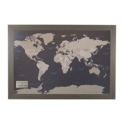 Push Pin Travel Maps Personalized Earth Toned World with Barnwood Gray Frame and Pins 24 x 36