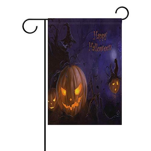 AnleyGardeflagsU 12x18 inch Seasonal Garden Flag Outdoor Double Sided Yard Flag for Home Decorative with Scary Halloween Printed Design ()