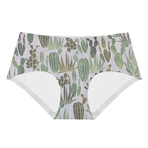 SALW 3D Print Briefs Underwear for Women Succelent Cactus