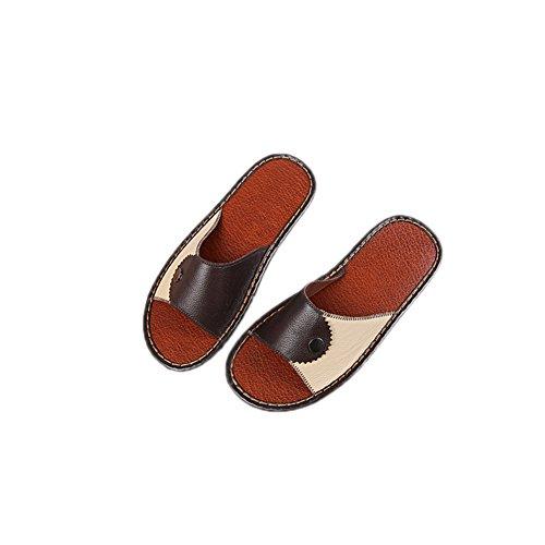 Tellw Printemps Automne Hiver Cuir Pantoufles Loisirs Pantoufle Anti-dérapant Semelles Chaussures Peau De Vache Pantoufles Pour Femmes Hommes Marron