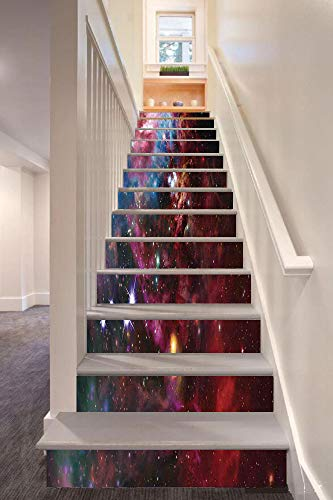 Space Decorations 3D Stair Riser Stickers Removable Wall Murals Stickers,Space Nebula with Star Cluster in the Cosmos Universe Galaxy Solar Celestial Zone,for Home Decor 39.3