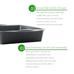 Silicone Square Cake Pan, (7.3 by 7.3-Inch), IC ICLOVER 100% Food Grade Premium Nonstick Cake Bread Mold Silicone Bakeware