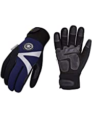 Vgo 2Pairs -20℃/-4℉ or Above 3M Thinsulate C100 Lined Winter Warm Work Gloves, High Dexterity Synthetic Leather, Waterproof Insert, Touchscreen (Size XL, Dark Blue, SL8777FW)