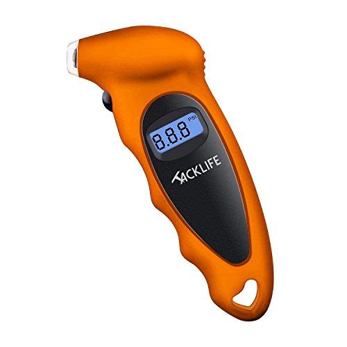 Tacklife Luftdruckprüfer digitaler Reifendruckprüfer mit großem LCD-Display für Geländewagen, Transporter, Sprinter, LKW, Fahrräder (mit Autoventilen), Motorräder und Autos, Orange