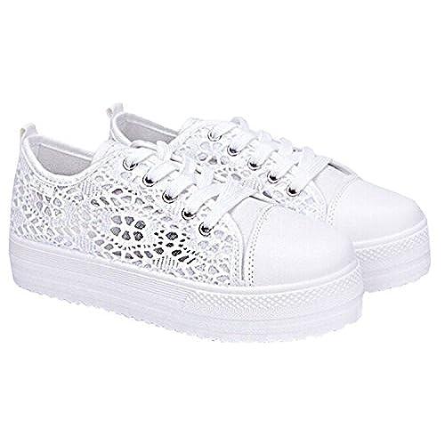 258ba5552b84c Summer Women Shoes Casual Cutouts Lace Canvas Shoes Hollow Floral  Breathable Platform Flat Shoe well-