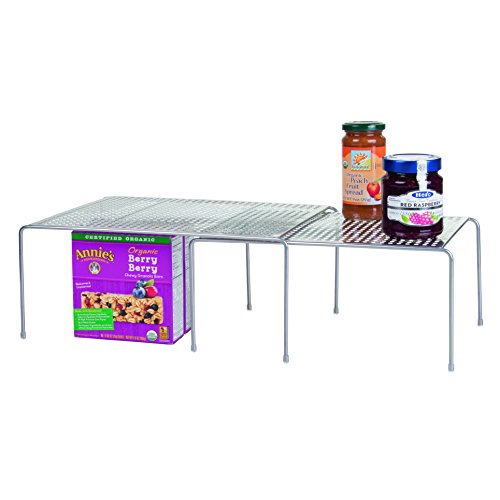 InterDesign Classico Expandable & Stackable Storage Shelves for Kitchen Cabinets, Countertops, Pantries - Silver