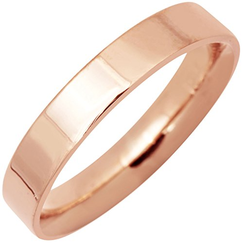 14K Rose Gold Traditional Top Flat Women's Comfort Fit Wedding Band (4mm) Size-5.5c1 - Rose Gold Cigar Band Ring