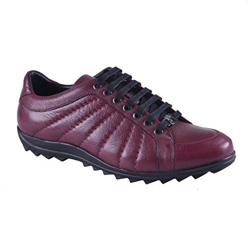 Versace Collection Mens Bourgogne Cuir Fashion Baskets Chaussures Bordeaux