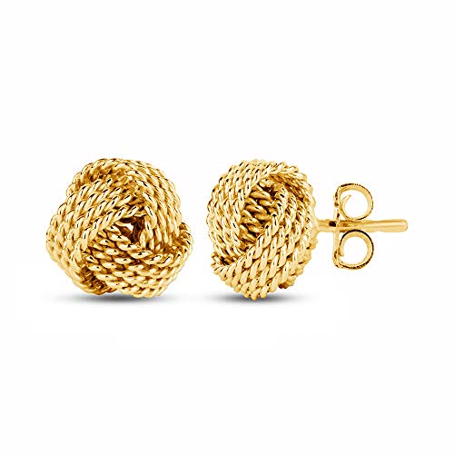 - LeCalla Sterling Silver Jewelry Yellow Gold Italian Design Twisted Wire Love Knot Stud Earrings for Women