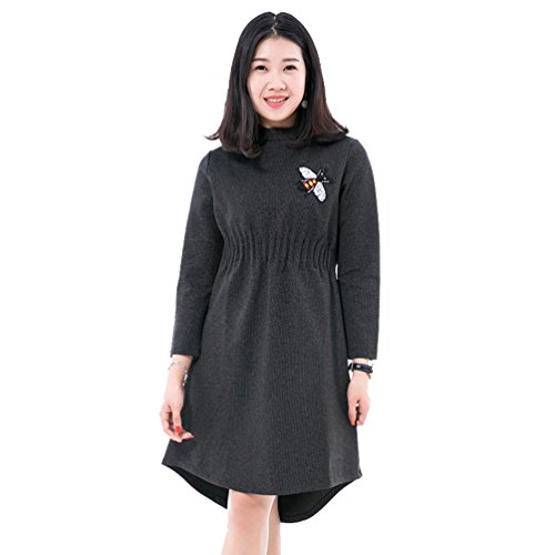 Size Knitting Dress Black Bee Long Women Loose Gray Dress Embroidery And Casual Autumn Backing Winter Sleeve Dress NiSeng Big vctUaqdq