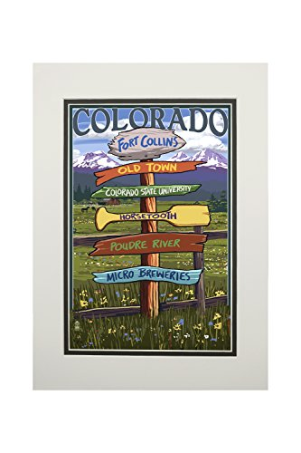 Fort Collins, Colorado - Destinations Sign (11x14 Double-Matted Art Print, Wall Decor Ready to Frame) (Fort Collins To Rocky Mountain National Park)