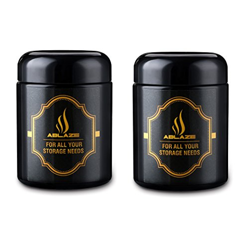 ABLAZE 2-Pack Jars 250ml Black UV Glass Jar - Smell-Proof Ultraviolet Storage Stash Jar Container Refillable Tall Wide-Mouth