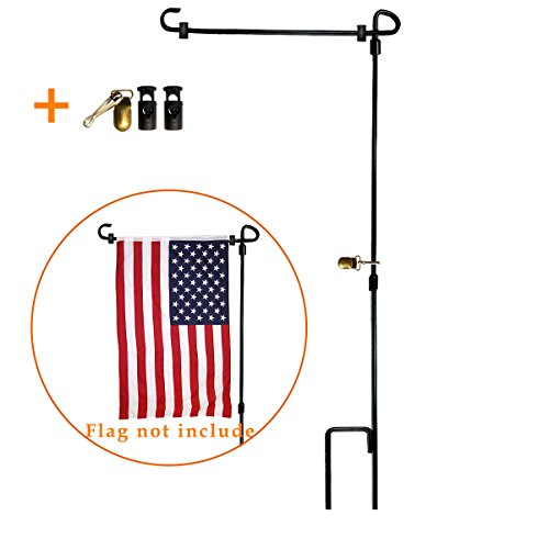 Metal Garden Flag Stand - VIEKEY Garden Flag Stand-holder-Pole Come With Garden Flag Stopper And Anti-Wind Clip 36.3