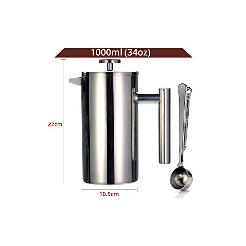 Coffee Pot Best French Press Coffee Maker Double Wall 304 Stainless Steel Keeps Brewed Coffee Or Tea Hot 3 Size With Sealing Clip/Spoon,1000Ml