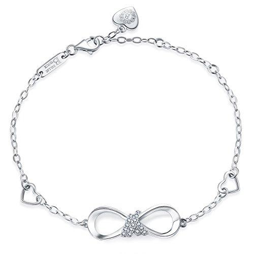 Billie Bijoux 925 Sterling Silver Infinity Heart Endless Love Symbol Charm Adjustable Bracelet White Gold Plated Women' s Gift for Graduation Birthday Valentine's Christmas Day by Billie Bijoux (Image #1)