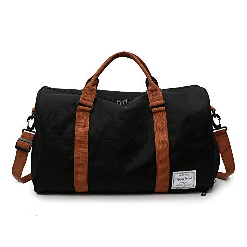 MOLLYGAN Travel Duffel Bag Large Capacity Yoga Gym Bag Durable Duffle Sports Bag with Shoes Compartment Tote Bag for Men and Women Black