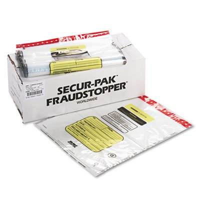 12 Bundle Capacity Tamper-Evident Cash Bags, 20 x 24, Clear, 250 Bags/Box, Sold as 250 Each by MMF Industries