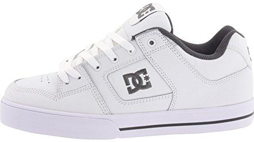 DC Pure Bianco Grigio Uomo Pelle Skate Sneaker Scarpe Stivali
