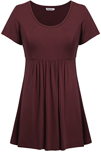 Tencole Women Summer Shirts, Scoop Neck Short Sleeve Flare and Fitted Tunic Tops Wine