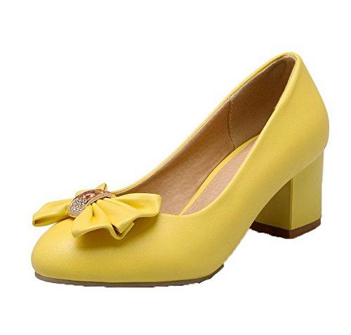Amoonyfashion Mujeres Pu Kitten-heels Round-toe Solid Pull-on Pumps-Zapatos Amarillo