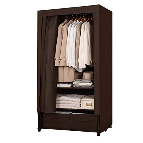 DYR Simple Assemblage Wardrobe Japanese Style Wardrobe Wardrobe Spacious Fabric Wardrobe Double Drawer Curtain (Color: Brown) ()