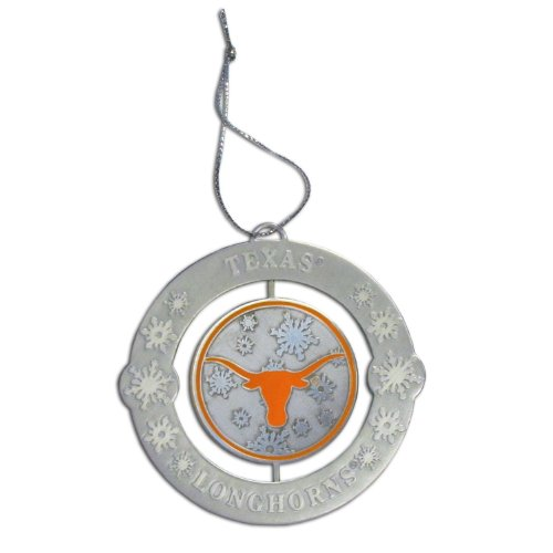 - NCAA Metal Engraved Two Sided Spinner Christmas Tree Ornaments (Texas Longhorns)