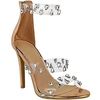 305128381e7 Womens Ladies High Heel Party Sandals Rock Prom Perspex Stud Stiletto Size. Fashion  Thirsty