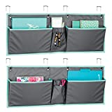 mDesign Fabric Hanging Home Office, Cubicle Storage Organizer, 2-Wide Pocket Organization - Holds Office Supplies, File Folder, Planner, Journal - Hang Over Cubicle Wall or Door - 2 Pack - Gray/Teal
