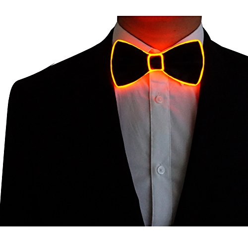 RaveLife Light Up Bow Tie LED El wire Tie for Party Christmas Festival Rave Party Gift Fashion Limited Collection,One Size (Red, 1)