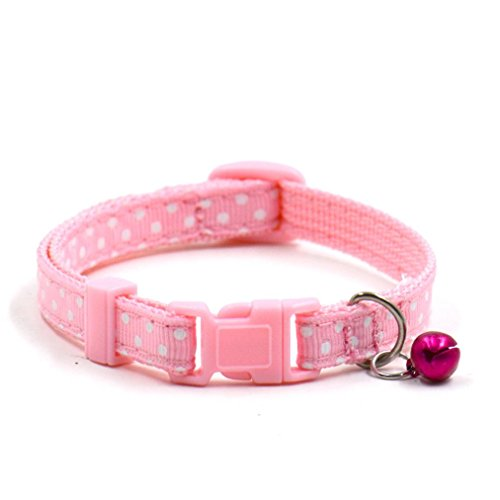 Price comparison product image Puppy Collar, Neartime Cute Bell Collar Small Dog Necklace Cat Collars (Pink)
