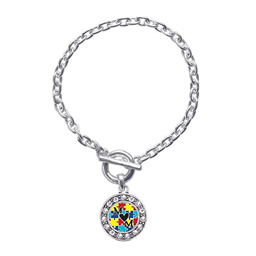 (Inspired Silver Autism Mom Circle Charm Braided Toggle Bracelet)