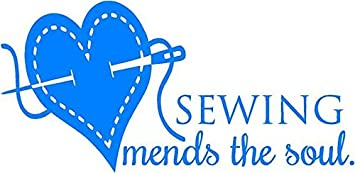 'Sewing Mends the Soul' - Saying Vinyl Wall Decal Quote Art - Craft Room Sticker - 20x10 [Y14] DS Inspirational Decals