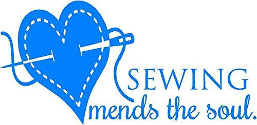 'Sewing Mends the Soul' - Saying Vinyl Wall Decal Quote Art - Craft Room Sticker - 20