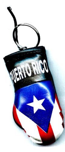 Puerto Rico Boxing Glove Keyring - Puerto Rico Souvenirs - Mini Boxing Glove Keychain with Puertorrican Flag Mini Boxing Key Ring