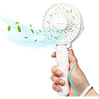 ELZO Mini Portable Fans, Foldable Handheld Fan & Rechargeable 2600mAh Power Bank 2 in 1, 3 Speed Adjustable with LED Light, Hand Electric Fan for Travel Home Office Camping, White