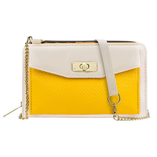 Envelope Clutch Cream/Yellow for HTC Phones by Vangoddy (Image #2)