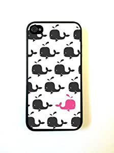 Bereadyship Hiding Pink Whale iPhone 4 Case Fits iPhone 4 & iPhone 4S A27